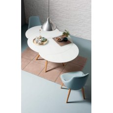 Myles Extending Round Dining Table (with wooden legs)