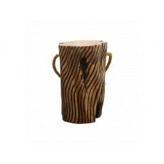 Natural Teak Root Tiger Stripe Stool with Rope
