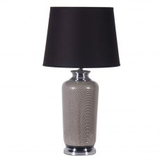 70's Chic Patterned Lamp with Black Shade