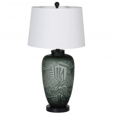 Green Etched Glass Lamp