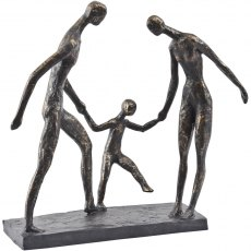 Antique Bronze Family of Three Sculpture