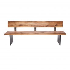Piana Oak Bench with Back (with full metal legs)