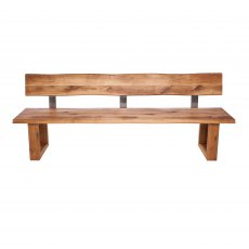Piana Oak Bench with Back (with U-shape wooden legs 4x10cm)