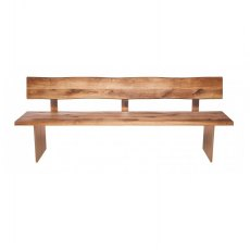 Piana Oak Bench with Back (with full wooden legs)