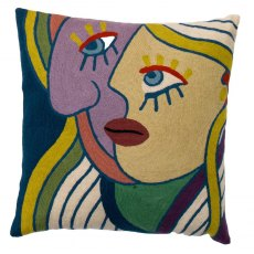 "Multi Coloured Face Left 18"" Cushion"