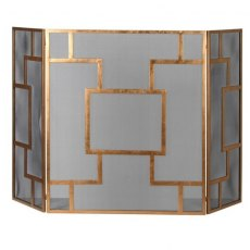 Contemporary Gold and Mesh  Fire Screen