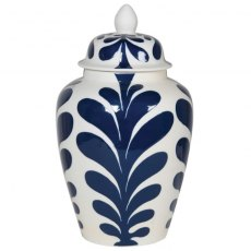 Large Leaf Design Lidded Jar