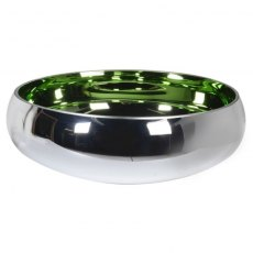 Round Silver and Green Bowl