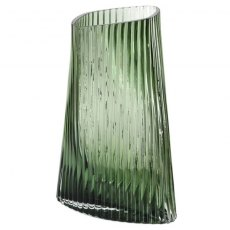 Green Ribbed Twist Glass Vase