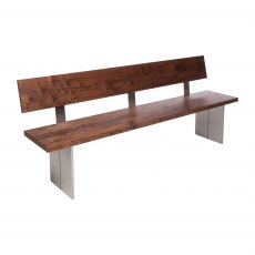 Piana Walnut Bench with Back (with full metal legs)