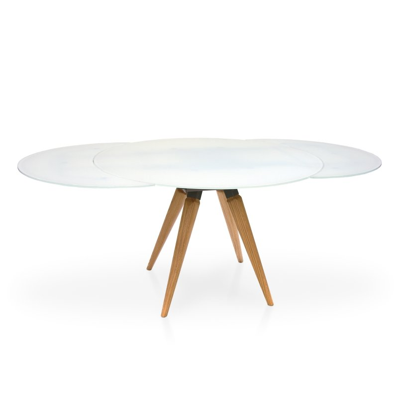 Myles Extending Round Dining Table, Round Dining Table With Extension Leaf