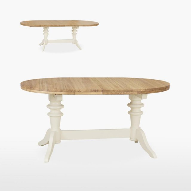 Coelo Oval Double Pedestal Dining Table, Round Table With Leaf Extension